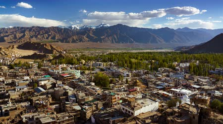 himalaya : 4K Timelapse of Leh city view from Tsemo Maitreya Temple, Ladakh, India