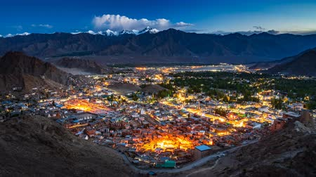 himalaya : 4K Day to night Timelapse of Leh city (aerial view), Ladakh, India