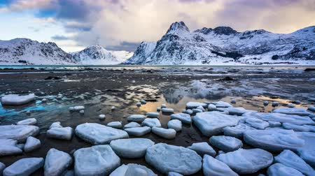 frozen lake : 4K Timelapse of Lofoten islands in winter, Norway, Europe Stock Footage