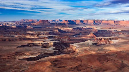 moab : 4K Timelapse Aerial view of Green River Overlook, Canyonlands National Park, Moab, Utah, USA