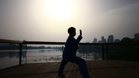 taiji : Tangshan, China, on May 27, 2018, the old man in the park to practice tai chi