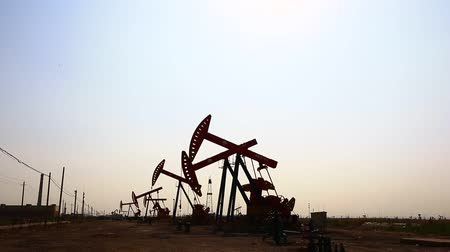 crude : On May 31, 2018, tanghai county of jidong oilfield sunset, hebei province, China.