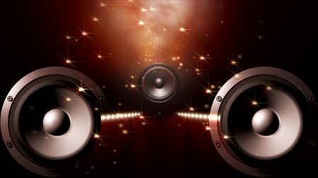 reproduktory : Three speakers with an equalizer between, twinkling stars background