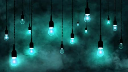 вешать : Incandescent bulbs hanging from the ceiling, smoke in motion, light blue background