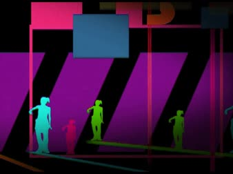 biodro : Hip hop dancers on beams, color games background E