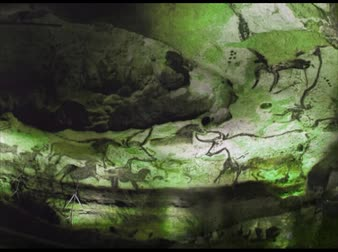 barlang : Prehistoric cave wall paintings in motion, zoom out, green