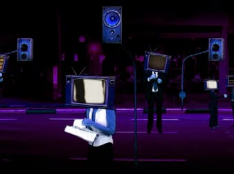 reproduktory : Business people with TV heads, moving street, speakers columns, purple Dostupné videozáznamy