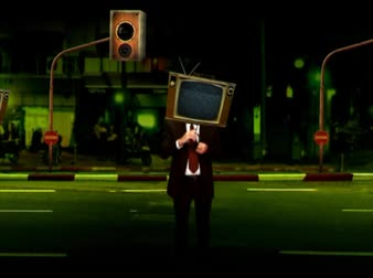 reproduktory : Businessmen in suits with TV heads, street moves, speakers columns, yellow