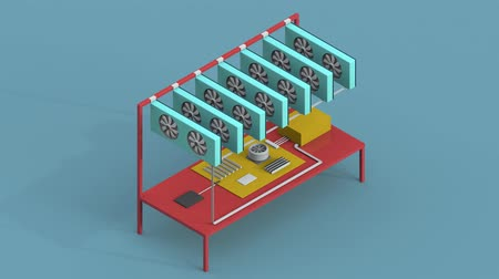 gpu : Mining of crypto-currencies. Isometric Farm from video cards. Looped.