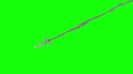 rocket launcher : Military Missile Flying on a Green Screen Background