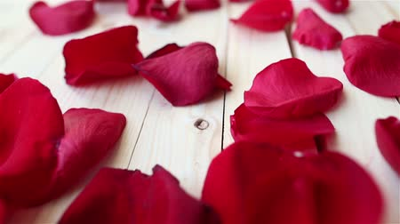 borders : Red rose petals on wooden background, close up