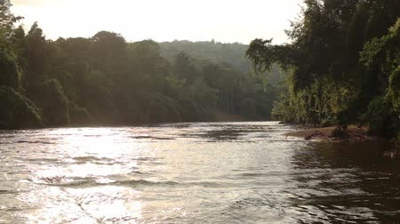 Footage of Kwai river shot while rafting. A tropical forest on the banks. The strong current of the water. Kanchanaburi,Thailand