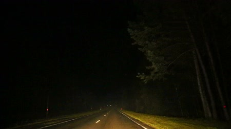 Car driving on the road in the dark. Night shooting. Bad weather conditions. Limited visibility on the track. View from the side of the windshield.