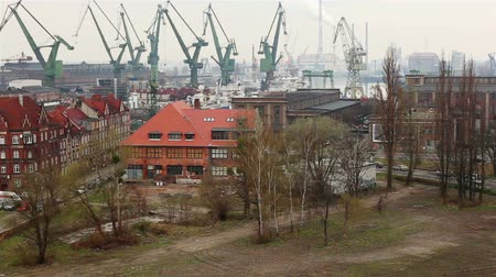 navy pier : GDANSK, Poland - APRIL 21, 2018: industrial area of shipyard. View of the city from the terrace of the Museum of World War II