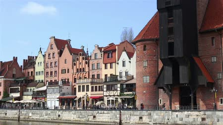 pirates : GDANSK, Poland - APRIL 22, 2018: view of Motlawa river and historic houses, a popular destination for tourism, old town. Stock Footage