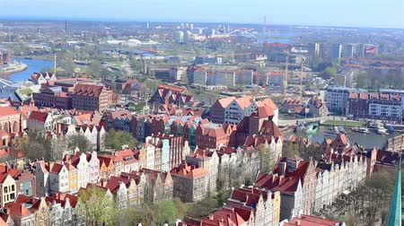 marys : GDANSK, Poland - APRIL 24, 2018: aerial view of Motlawa river and historic houses, a popular destination for tourism, old town. Observation site of the Marys Church.