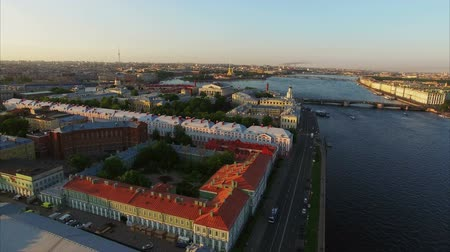 vasilevsky : 4k aerial drone shot of Saint-Petersburg with view on river Neva, Palace bridge, Hermitage and Petr and Paul fortress shot
