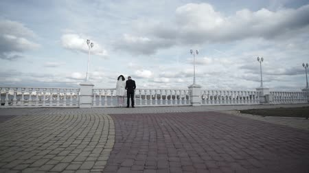 voronezh : Young lovely wedding couple on embankment looking to the cityscape