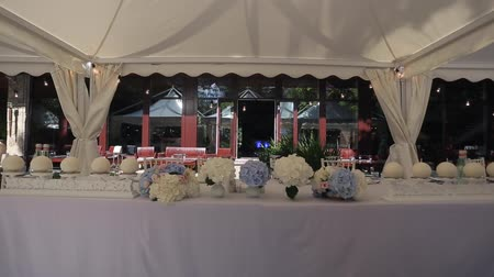 ortanca : Outdoors wedding party decoration at sunny day Stok Video