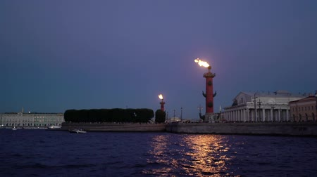 vasilevsky : Saint-Petersburg city at night view from boat