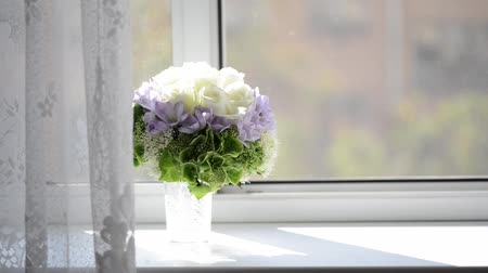 Bouquet with white and violet flowers bridal wedding