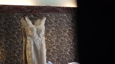 Bridal dress at the mirror in bedroom Wideo