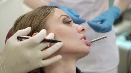 Patient woman at dentist orthopedic Wideo