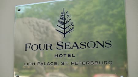lion : SAINT-PETERSBURG, RUSSIA - JUNE 2, 2018: Four Seasons hotel plate sign