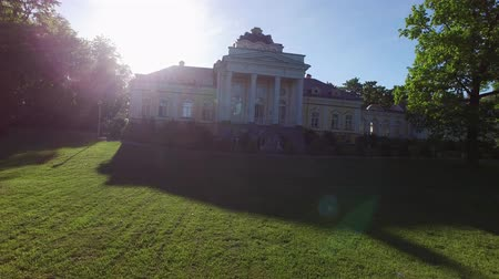 manor : Historical palace building at the evening aerial Stock Footage