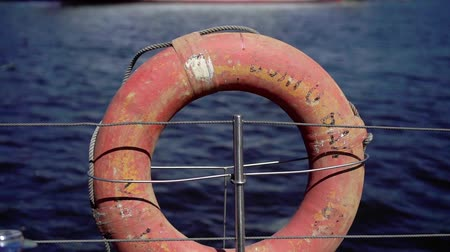 lifebuoy : Life ring at yacht sailing Stock Footage