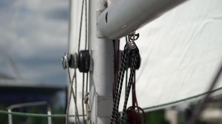 regaty : Rope on sailing yacht at windy sunny day