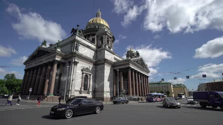 st isaac's cathedral : SAINT-PETERSBURG, RUSSIA - MAY 31, 2018: Saint-Petersburg Isaacs Cathedral at Fifa 2018 in Russia days