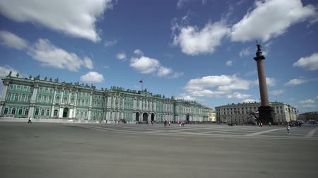 alexander column : Palace square in Saint-Petersburg at sunny day Stock Footage