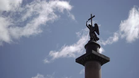 alexander column : Alexanders column in Saint-Petersburg at sunny day Stock Footage