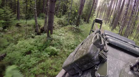 zbroja : Tank driving in forest at cloudy day Wideo