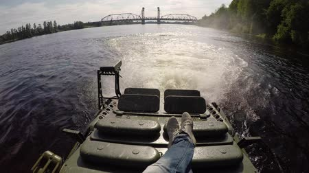tracked : Tank driving in river swimming