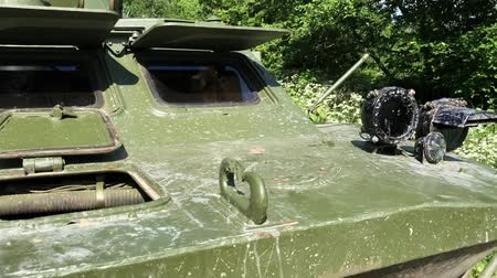 armored : Tank dirty in forest at sunny day