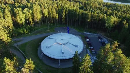 unidentified : Building like UFO in a forest aerial