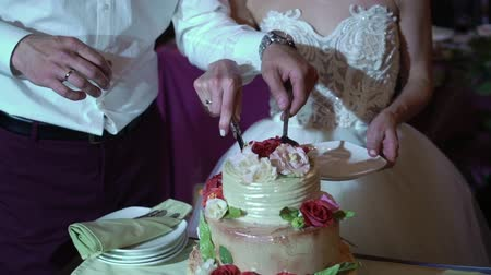 tort weselny : Bride and groom cutting wedding celebration cake