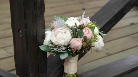 piwonie : Bridal bouquet with peonies otdoors
