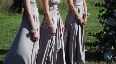 аналогичный : Bridemaids in blue gray dresses staying at wedding ceremony outdoors waving dresses at sunny summer day Стоковые видеозаписи