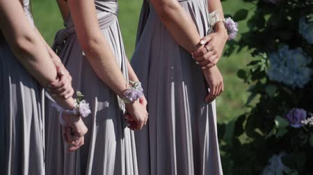 benzer : Bridemaids in blue gray dresses staying at wedding ceremony outdoors waving dresses at sunny summer day Stok Video