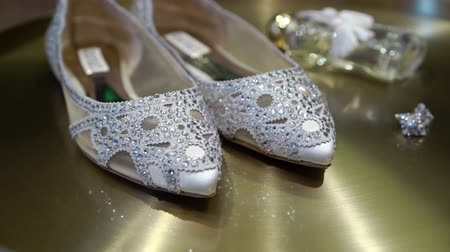 pastas : Bridal wedding shoes with pastes and jewelry earrings on golden background steadicam Stock Footage