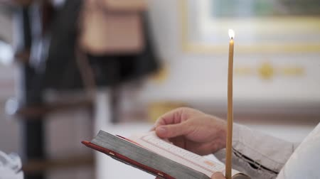 biblia : Priest praying with Bible book in church at ceremony Wideo