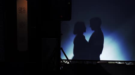 Bride and groom looking to each other at the party silhouettes shadows