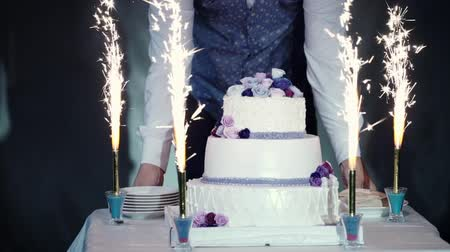 şeker : Celebration cake at the party event with firework Stok Video