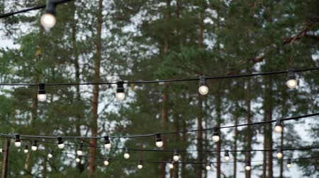 украшать : Decorative outdoor string lights hanging in the garden at night or evening time. Decoration at celebration party in forest countryside