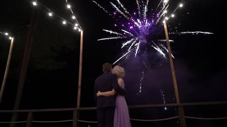 firecracker : Couple of beautiful stylish newlyweds looking at fireworks exploding in the night sky on their wedding day. Bride and groom watching fireshow