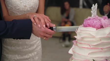 wed : Bride and groom cut wedding cake. Celebration sweets at the party. Newlyweds with knife cutting pink and white cake. Stock Footage