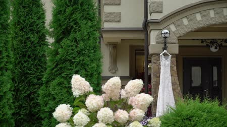 cüppe : White wedding dress with lace. Bridal gown outdoors at cloudy day